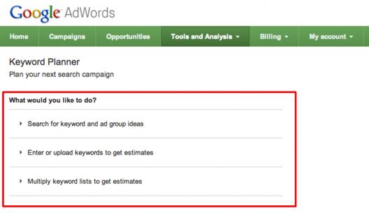 Primer paso utilización Keyword Planner de Google