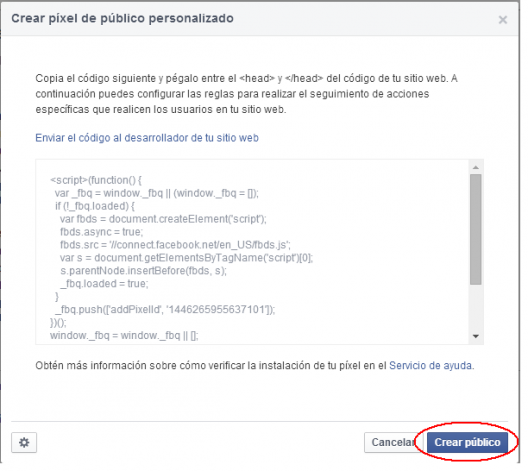 Código seguimiento remarketing Facebook