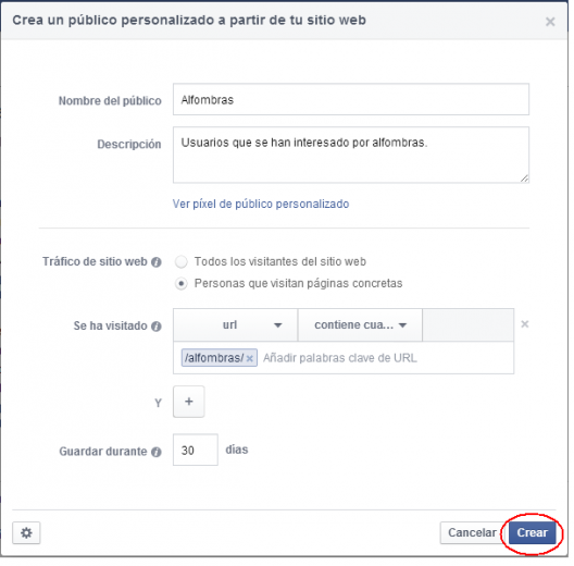 Crear publico remarketing Facebook