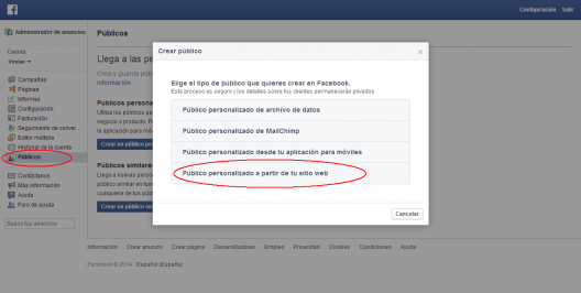 Publicos remarketing facebook