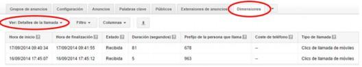 Estadísticas de llamada Google Adwords