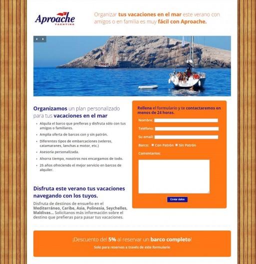 Landing Aproache creada con WordPress
